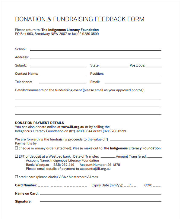 donation fundraising event feedback form
