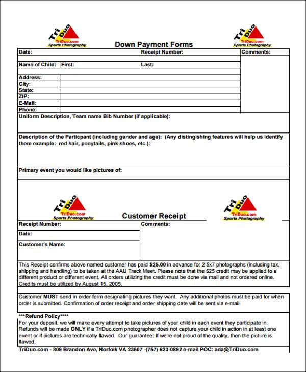 down payment receipt