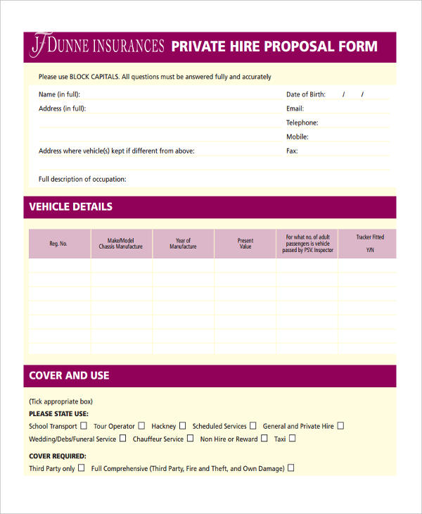 driver taxi proposal form1