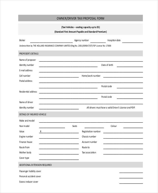 driver taxi proposal form2