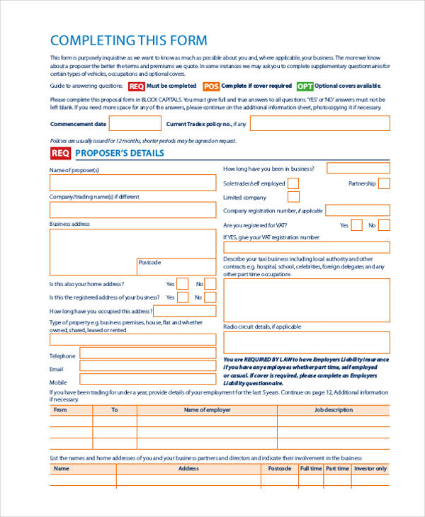 driver taxi proposal form5