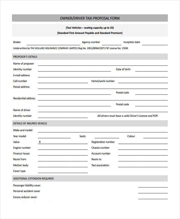 driver taxi proposal form6