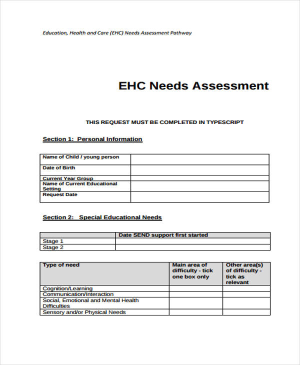 education care needs assessment form