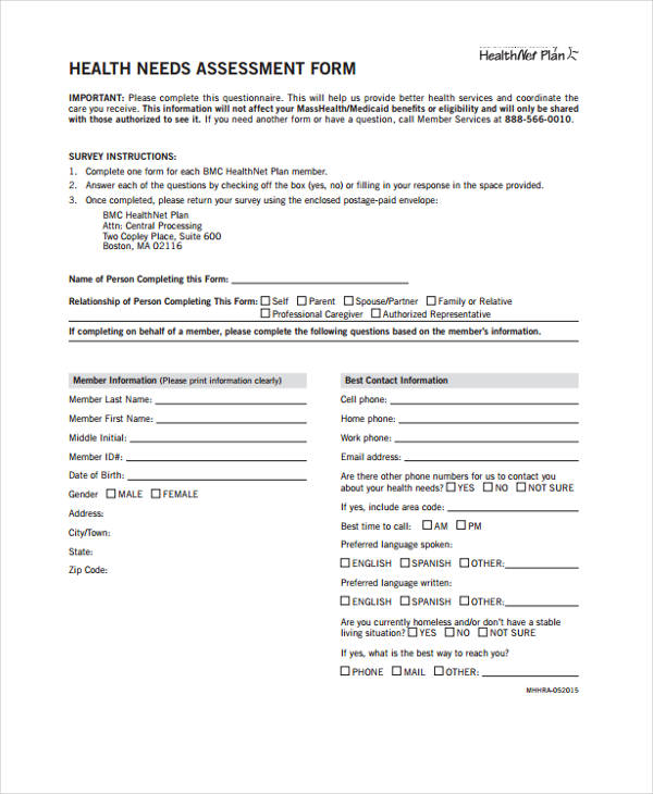 education health needs assessment form