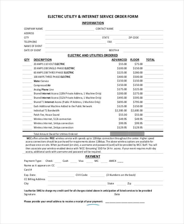 electric utility internet service order form