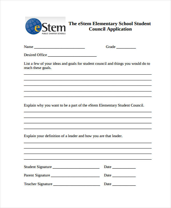 elementary student council application form