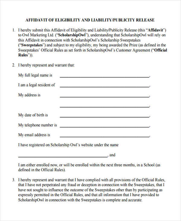 8 sample eligibility affidavit forms free sample example format eligibility affidavit release thecheapjerseys Image collections