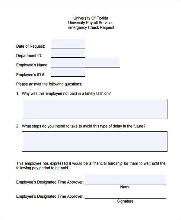 emergency check request1