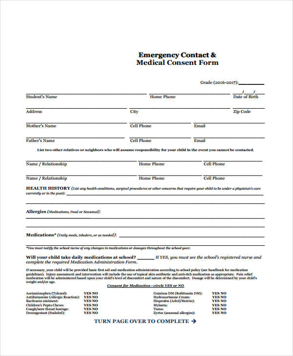 emergency contact medical consent form