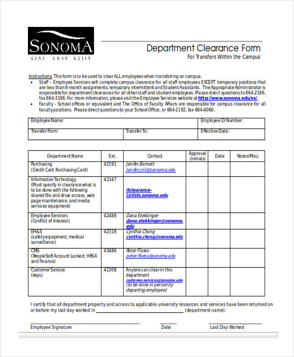 employee campus clearance form
