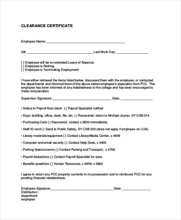 16 employee clearance form sample employee clearance certificate form example yadclub Image collections