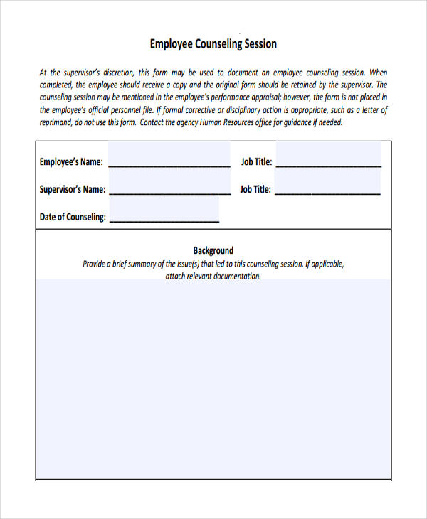 38 Counseling Forms in PDF – Employee Counseling Form