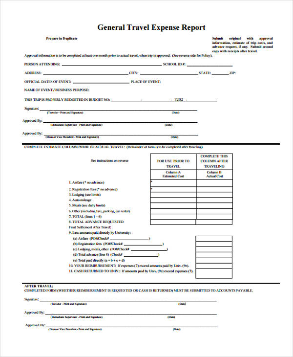 employee credit card expense report form