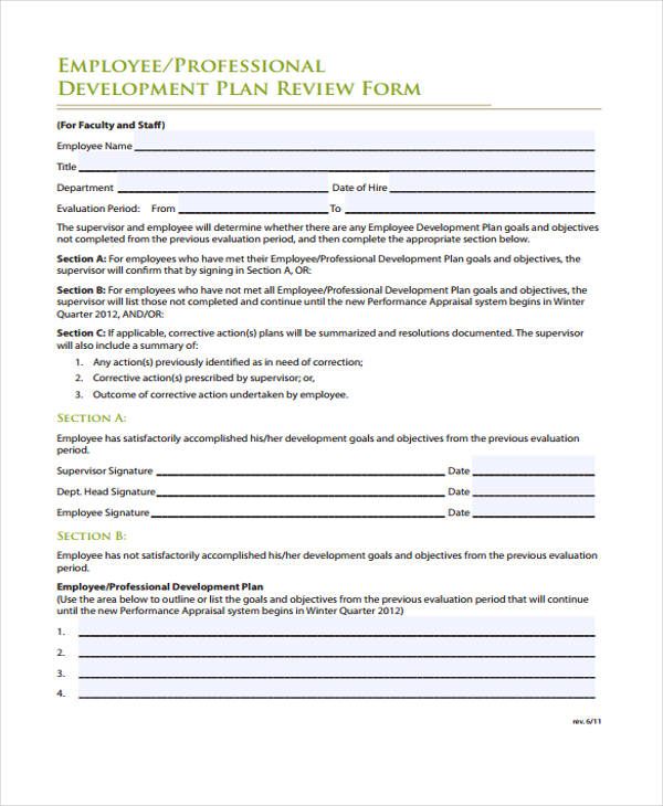 employee development plan review form