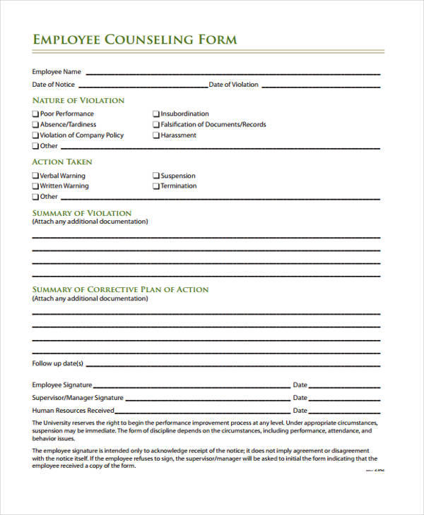 Employee Counseling Form Employee Initial Counseling Form Sample