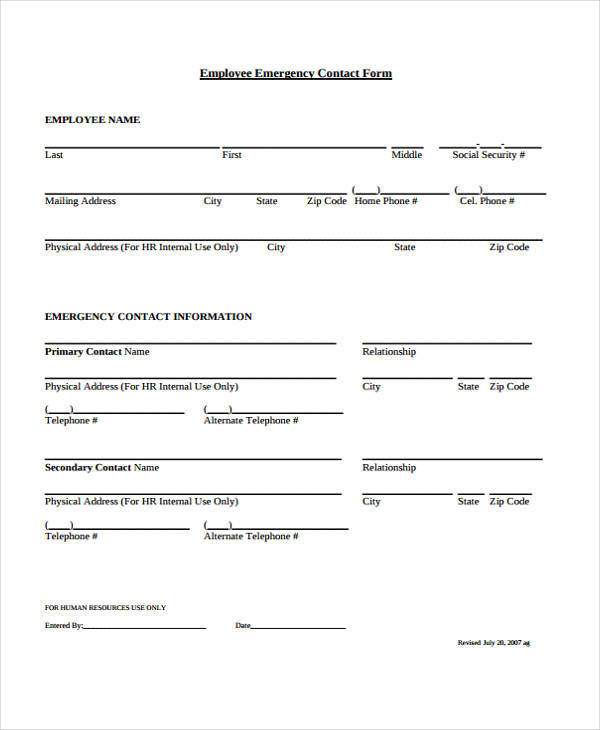 emergency contact form
