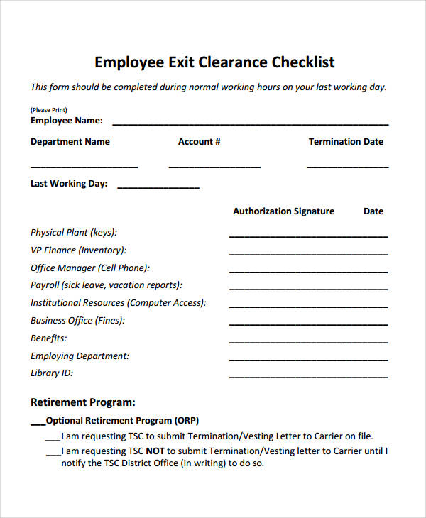 Employee Clearance Form Formats