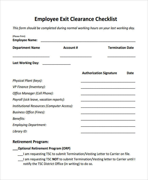 Exit Clearance Form   Free Documents In Word Pdf