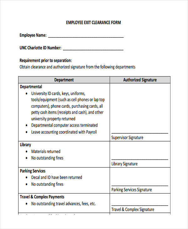 Exit Clearance Form - 6+ Free Documents In Word, Pdf