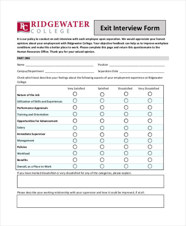 Employee Exit Form Exit Clearance Form Finance Departmentname – Exit Interview Form