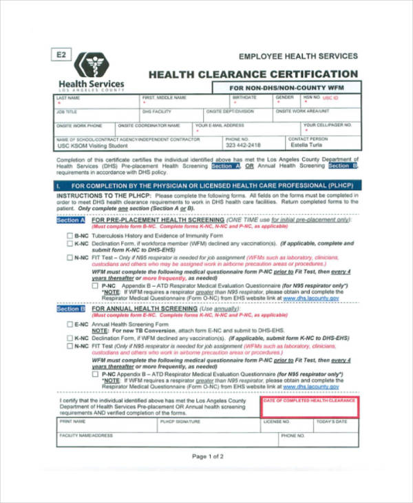 employee health clearance certificate form