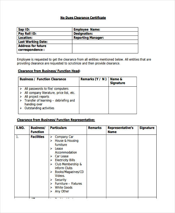 employee no dues clearance certificate form