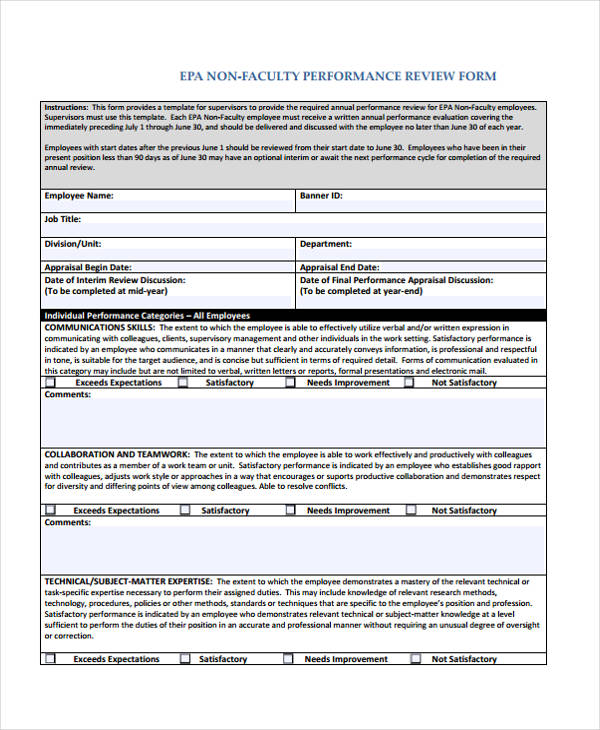 employee non faculty performance review form