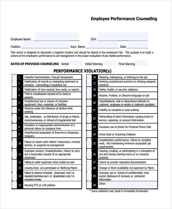 employee performance counseling form2