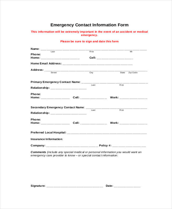 7+ Employee Personal Information Form Sample - Free Samples ...