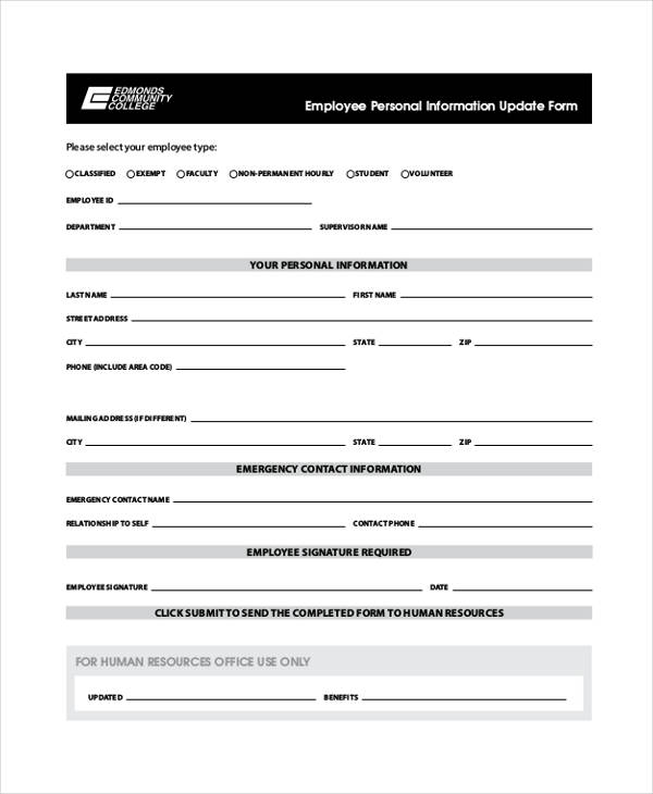 Employees Personal Information Form  Employee Information Form Sample