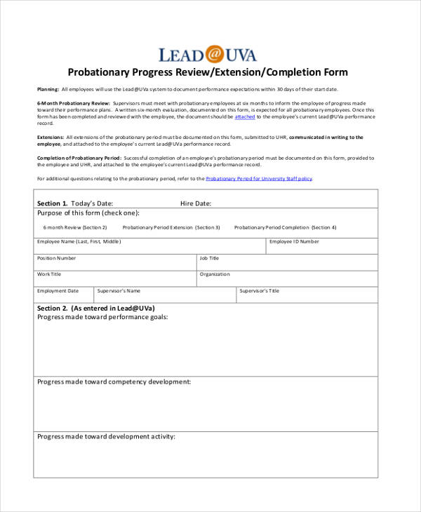 employee probationary progress review form2