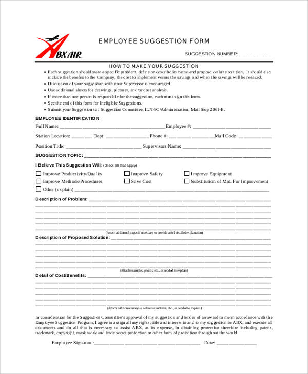 8+ Employee Suggestion Form Sample - Free Sample, Example Format ...