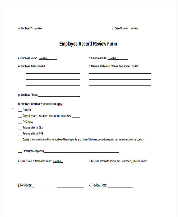 employee record review form