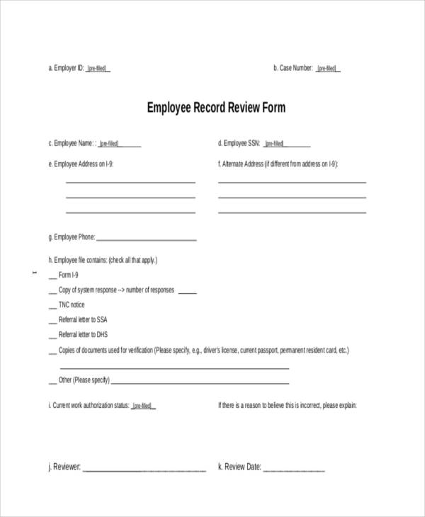 employee record review form1