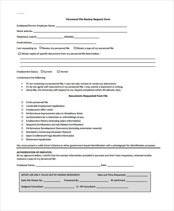 Employee Request Review Form Sample
