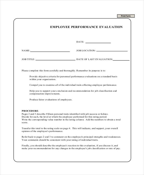Employee Review Form Examples  BesikEightyCo