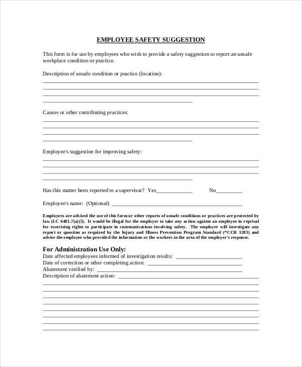 Employee Suggestion Form Sample  Free Sample Example Format