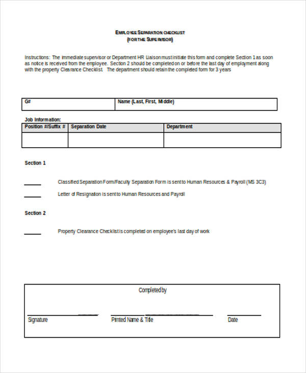 Employee Separation Checklist Clearance Form