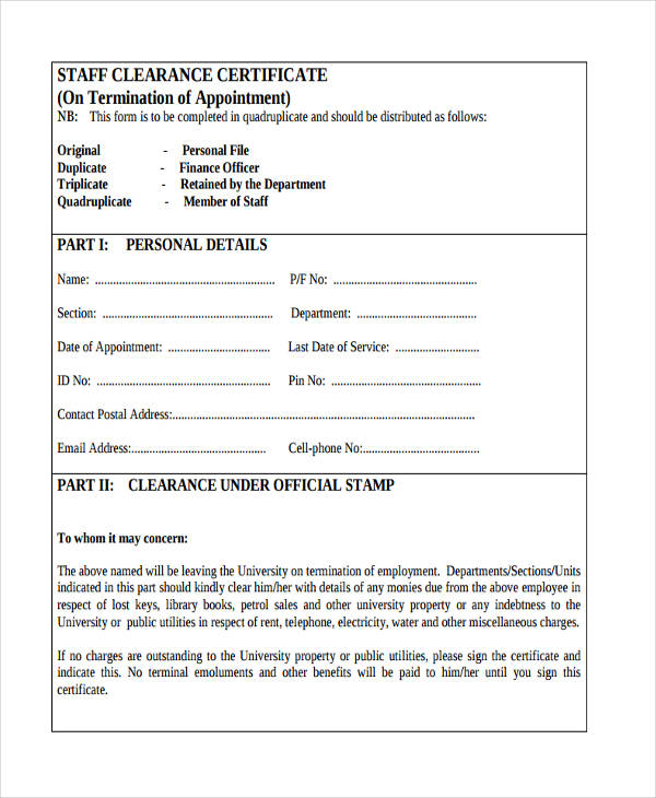 Employment Clearance Certificate Sample