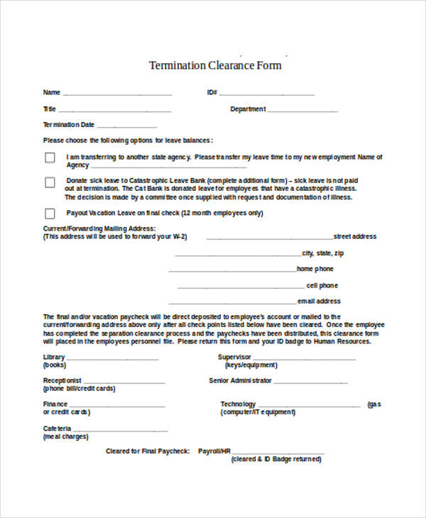 employee termination clearance form example