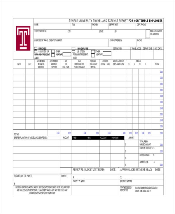employee travel expense report form