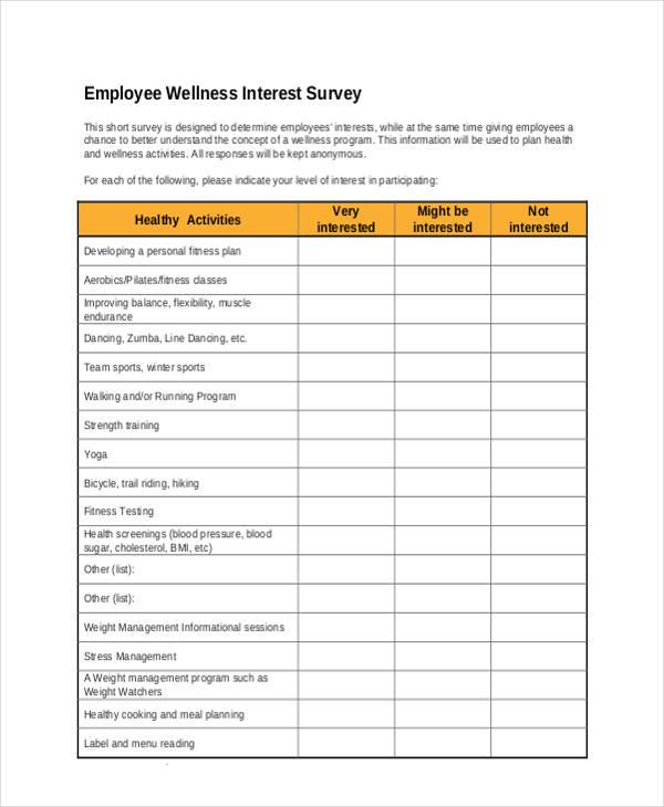 employee wellness interest