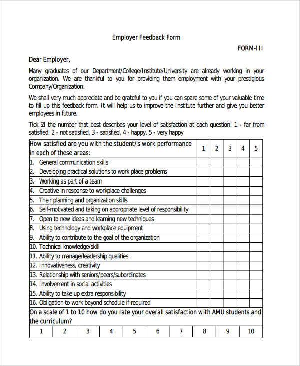 employer feedback form