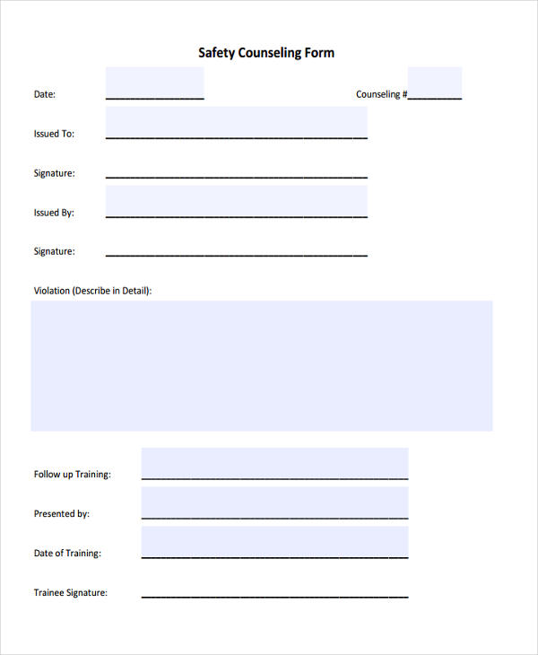 employer safety counseling form