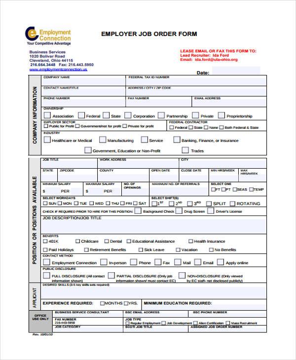 employer service job order form