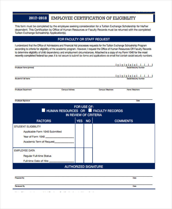 10 employment certification form sample free sample example