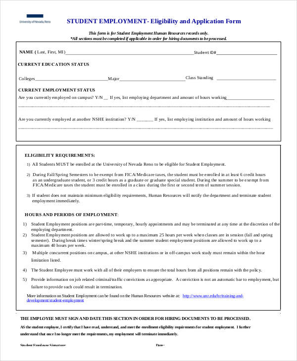 employment eligibility application form