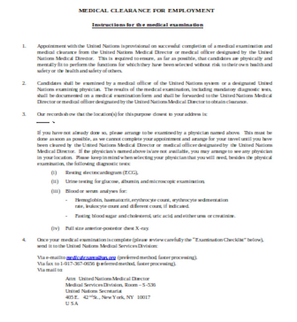 employment medical clearance form