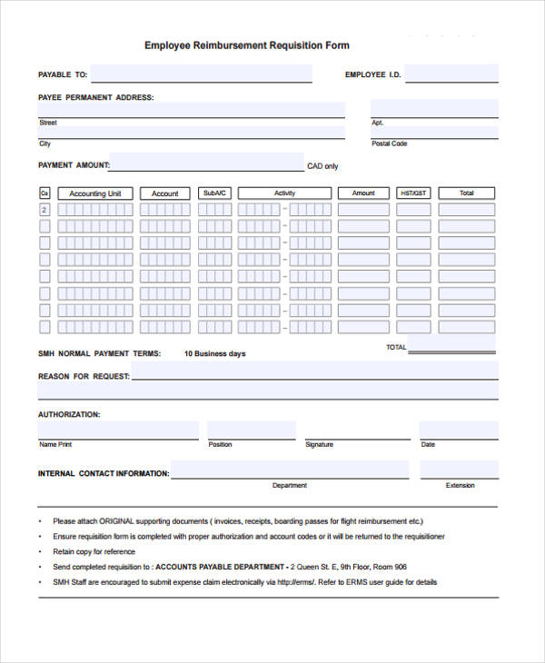 employment reimbursement requisition form
