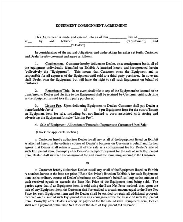 Equipment Consignment Sales Agreement Form